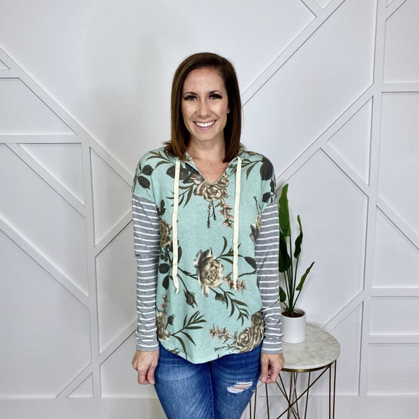 Sage Floral with Striped Sleeved Hoodie