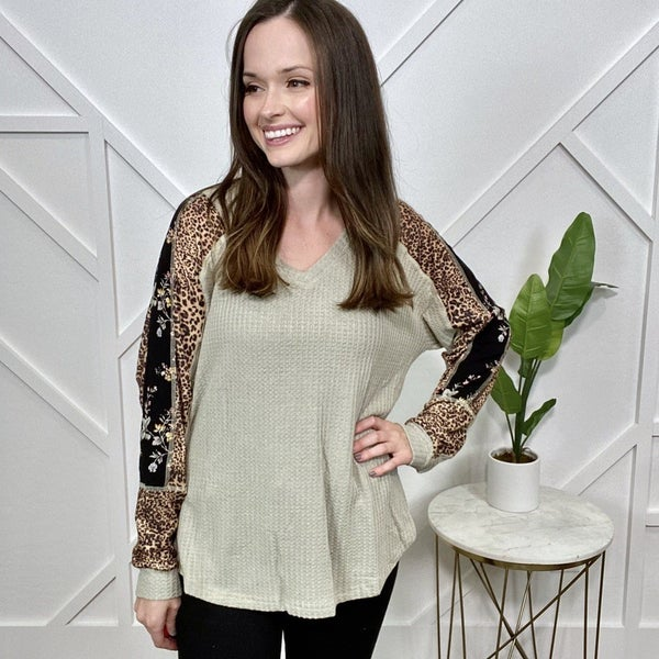 Sage Thermal Top with Leopard Print Sleeves
