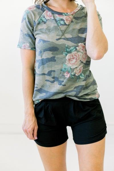 Camo Floral Top