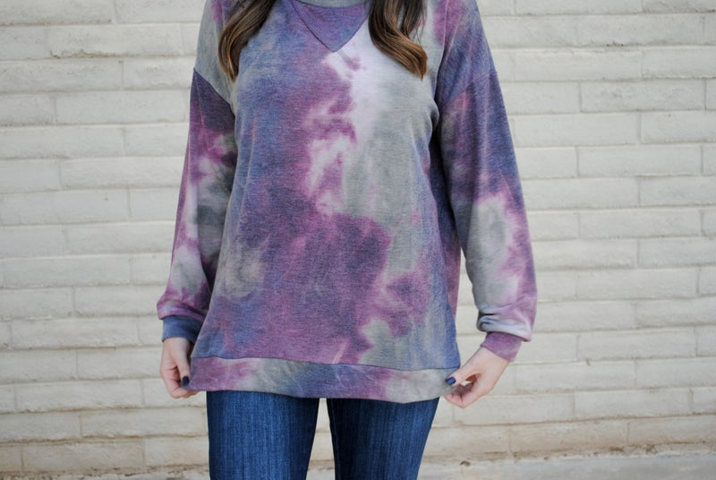 Olive + Plum Tie Dye Pullover