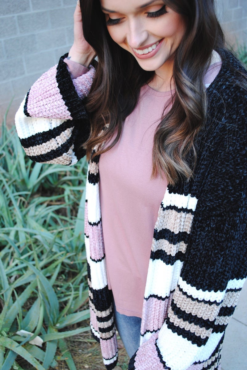 Chenille Knit Multi Stripe Cardigan