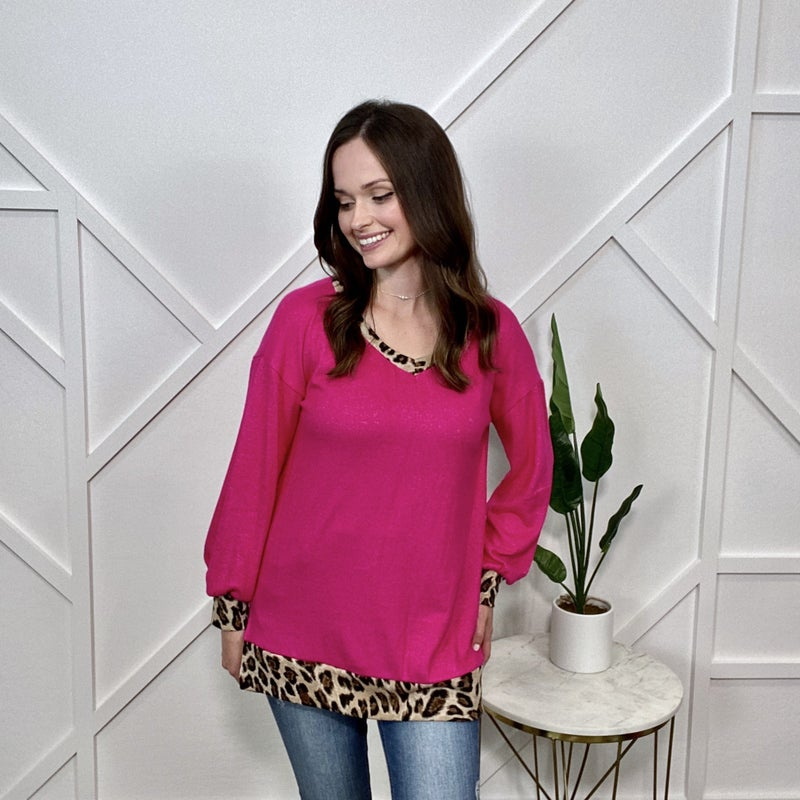 Hot Pink with Leopard V-Neck Sweater