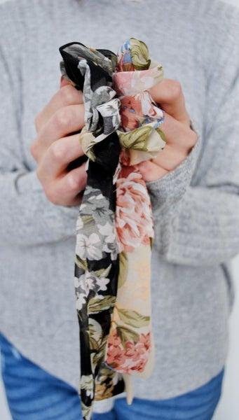 Floral Scarf Pony Scrunchie
