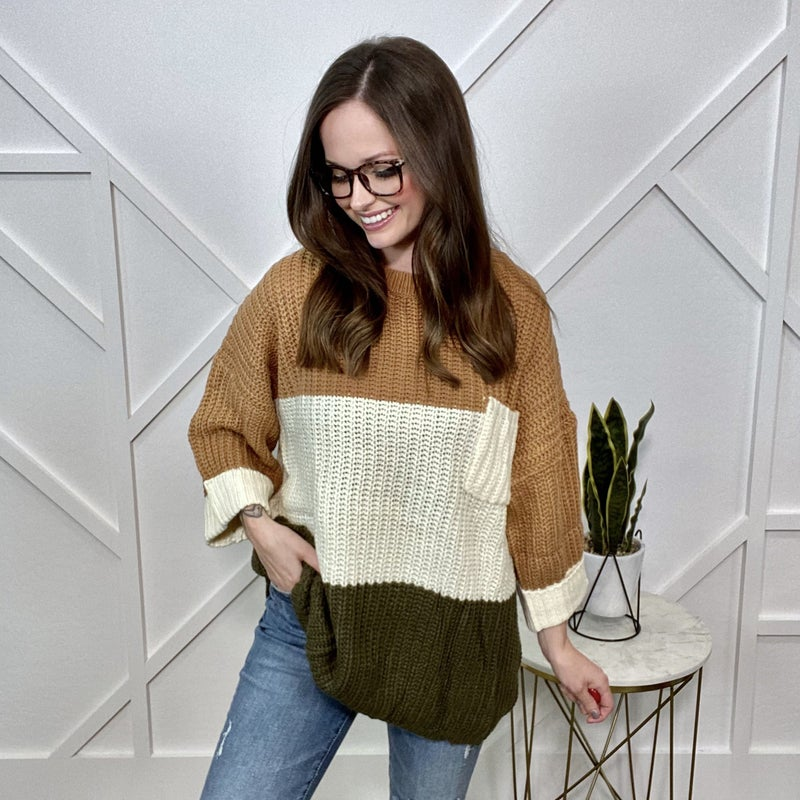 Toffee Color Block Sweater