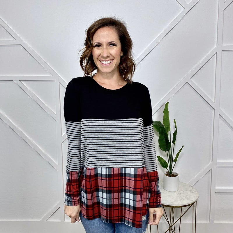Plaid Color Block Long Sleeve Top