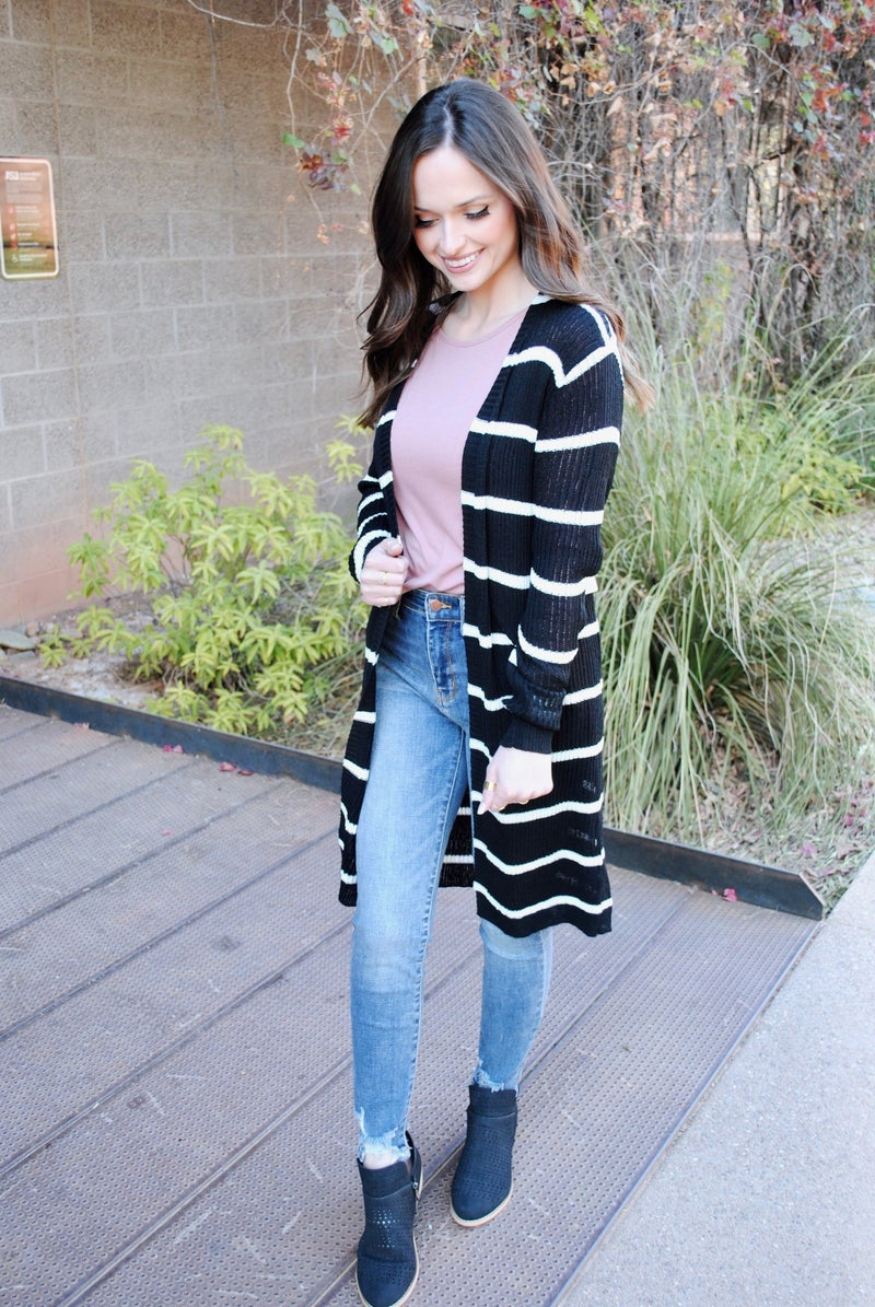 Striped Ribbed Knit Cardigan