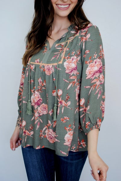 Floral Bubble Sleeve W/ Tie