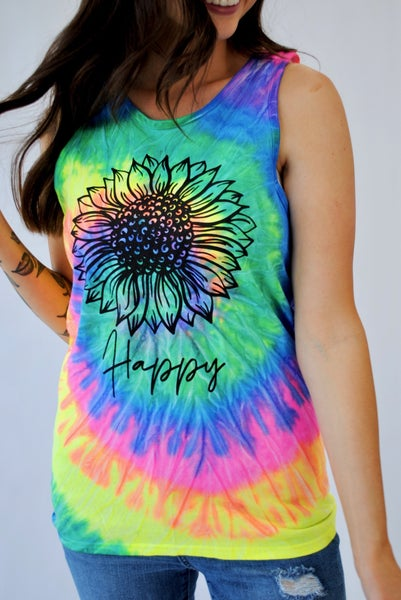 Happy Sunflower Neon Tank
