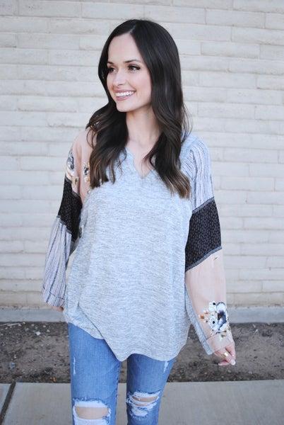 Grey + Printed Sleeve Top