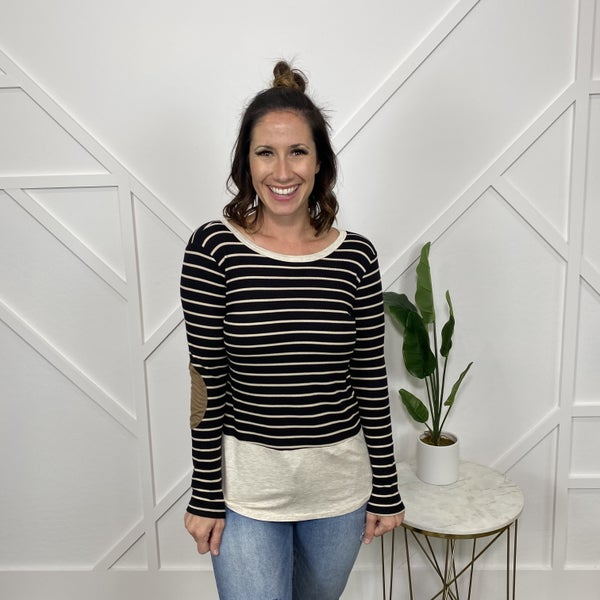 Striped Long Sleeve w/elbow patch