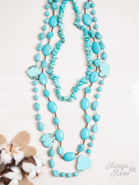 Multilayered Chunky Stone Turquoise Necklace