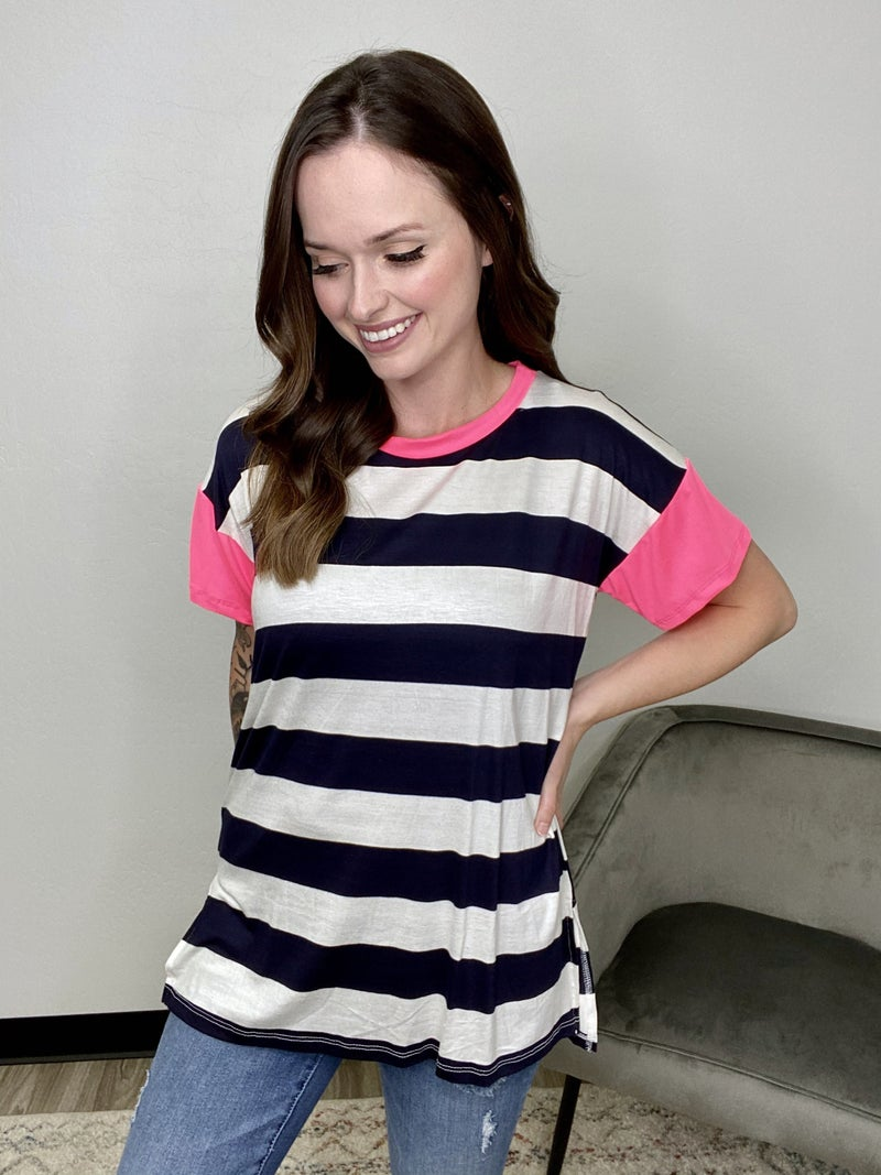 Stripe Top with Neon Pink Sleeves