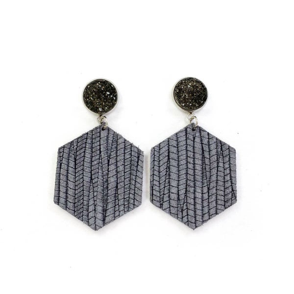 Druzy Stud & Solid Palm Leather Earrings