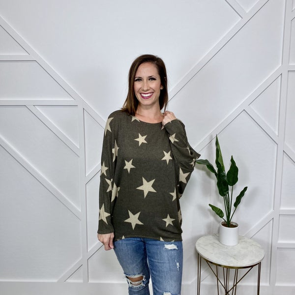 Olive Knit Star Shirt