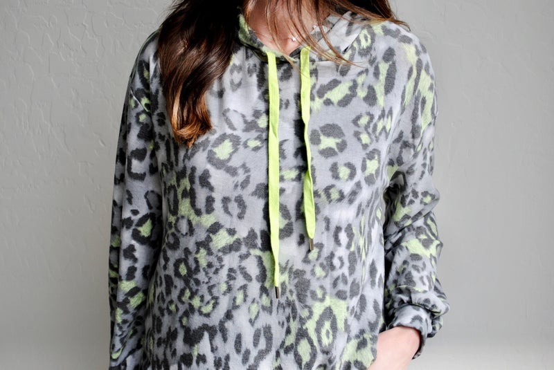 Grey + Lime Leopard Hoodie