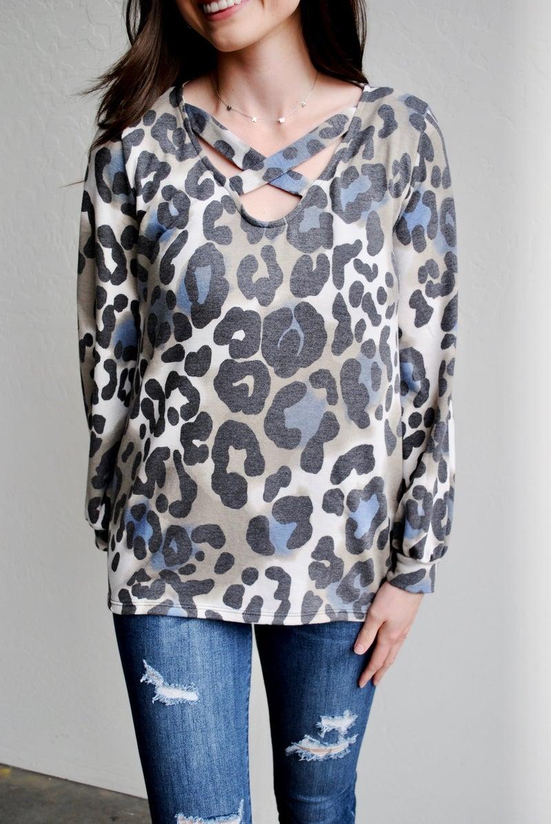 Blue Leopard Criss Cross Long Sleeve
