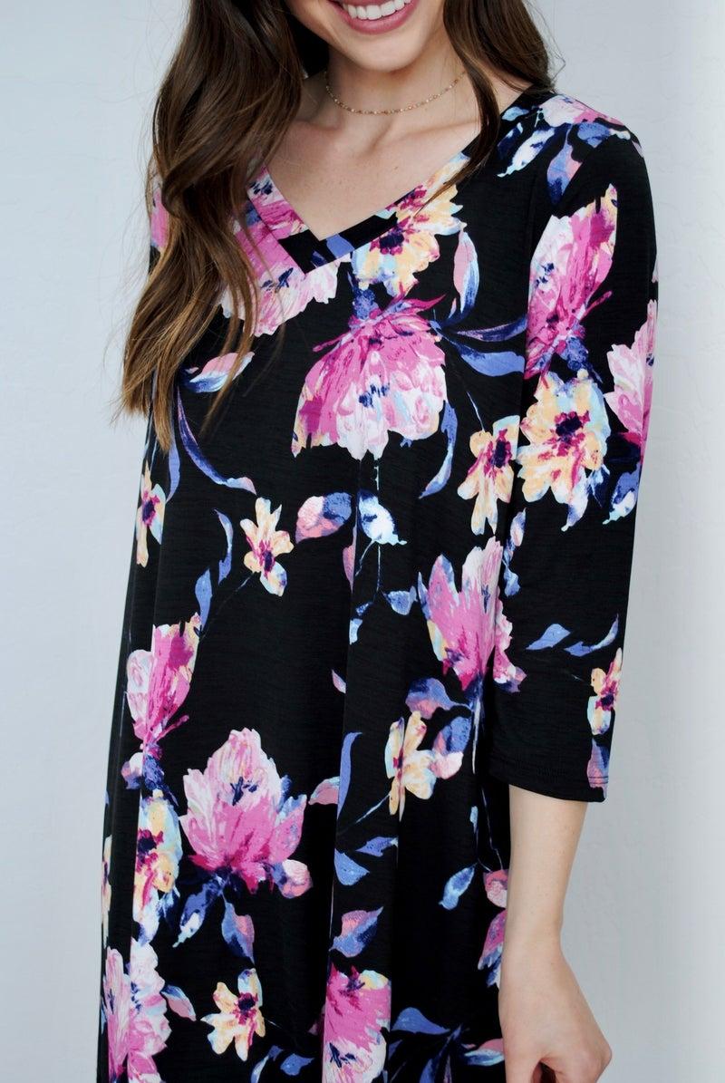 Black and Pink Floral Dress