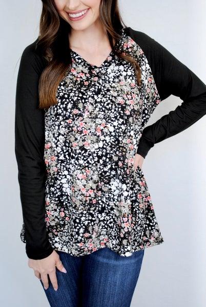 Floral Top w/Black Long Sleeves