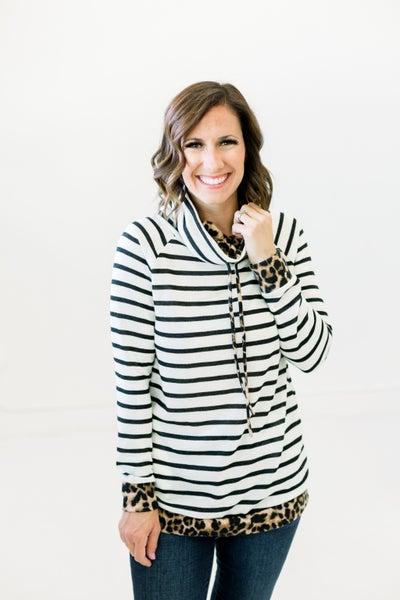 Stripe Leopard Sweater