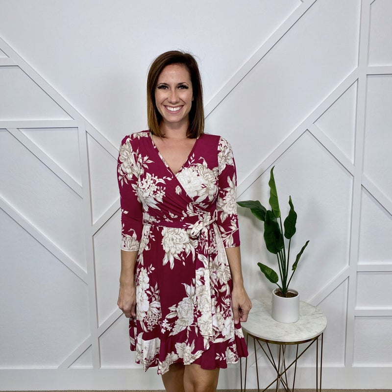 Burgundy Taupe Floral dress