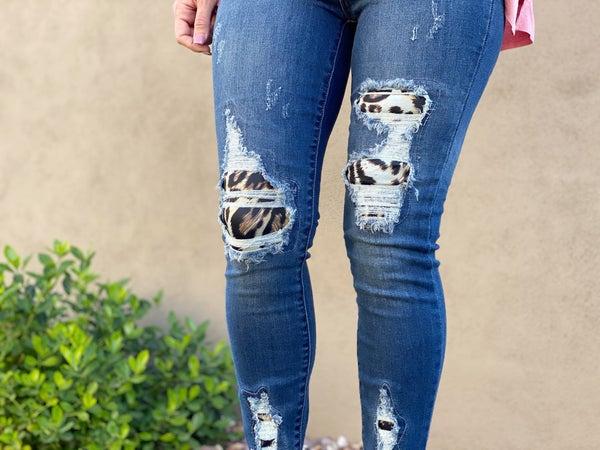 Judy Blue Leopard Patch Skinny