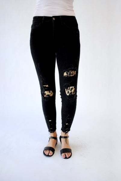 Black Destroy Leopard Patch Skinny