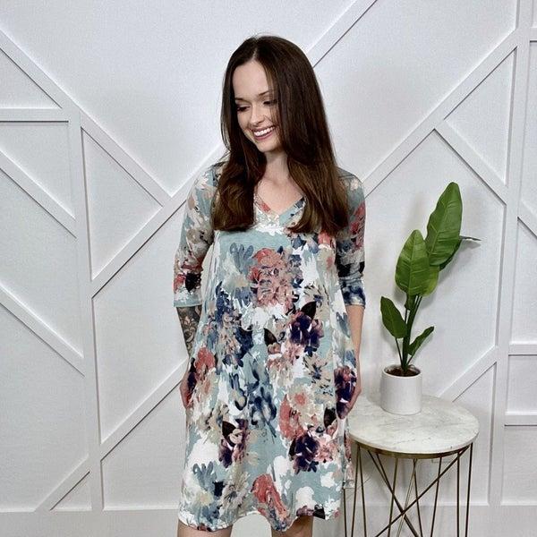 Mint Floral Dress 3/4 Sleeve