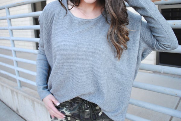 Grey Ribbed Dolman Sweater