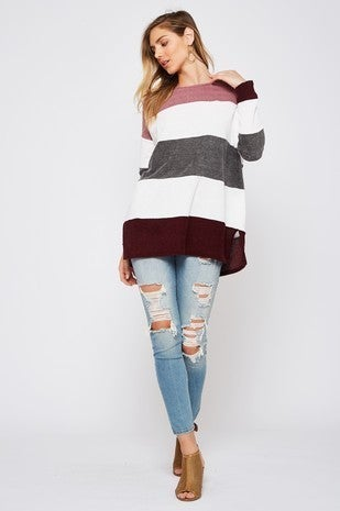 Solid Color Block Sweater