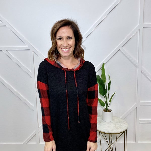 Black/Red Plaid Hoodie