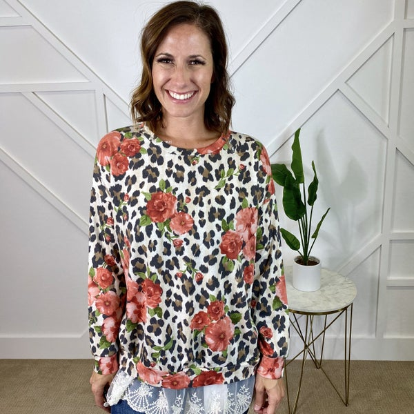 Leopard Floral Pullover