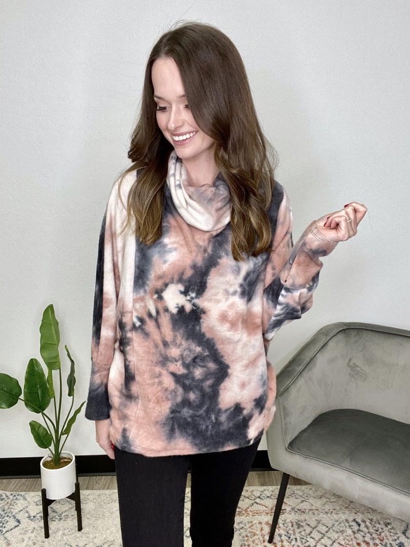 Tie Dye Cowl Neck Sweater