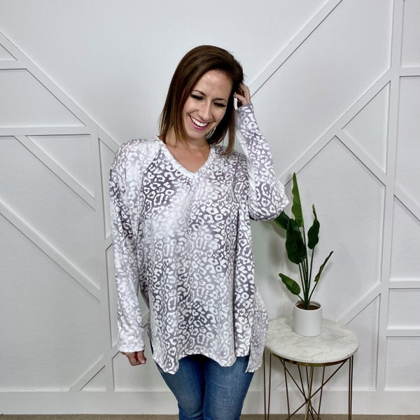 White and Grey Leopard Long Sleeve Top