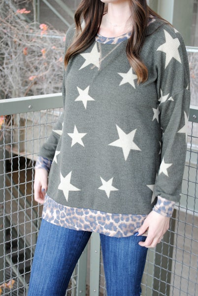 Olive Star Sweater