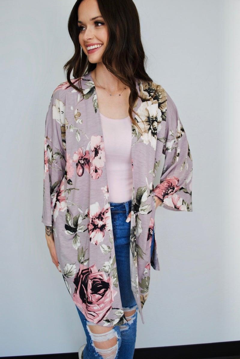 Lavender Floral Kimono
