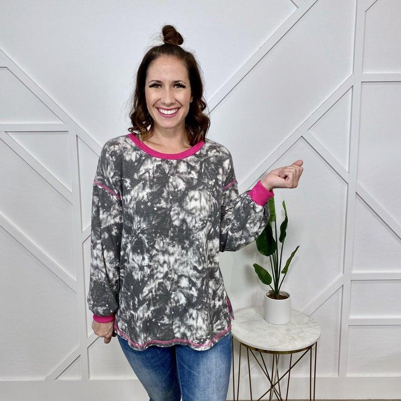 Tie dye w/Pink Trim Pullover