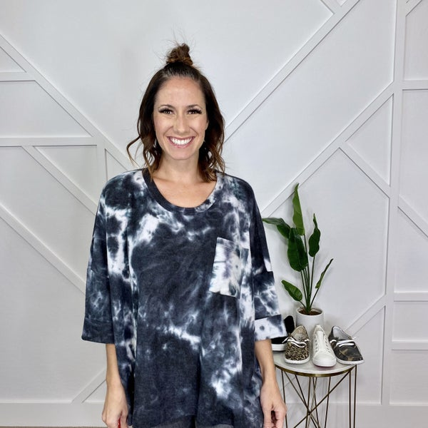 Grey Tie Dye Dolman Sweater
