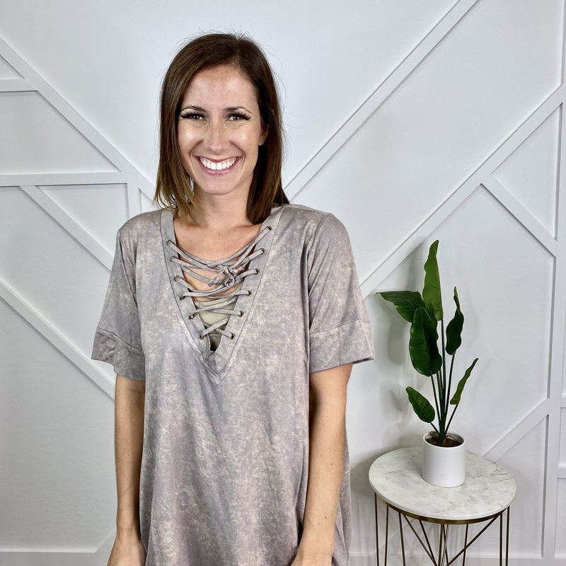 Lace Up V Neck Top