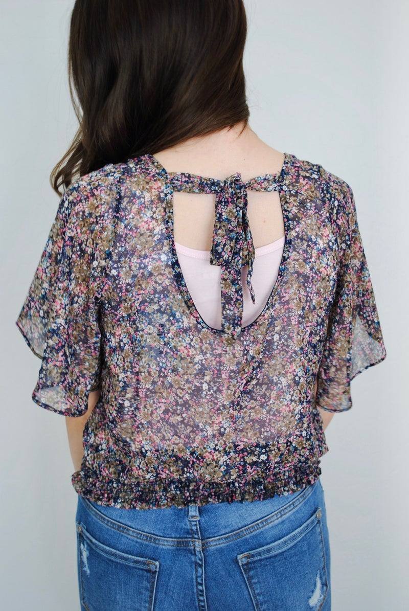 Navy + Pink Floral Top with Open Back
