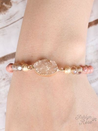 Coral and Gold Druzy Stone Stretch Bracelet
