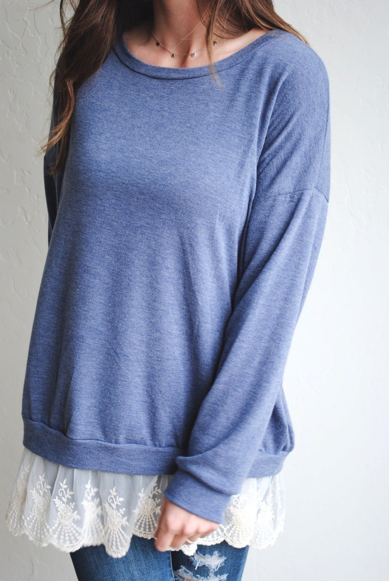 Navy Top with Lace Trim