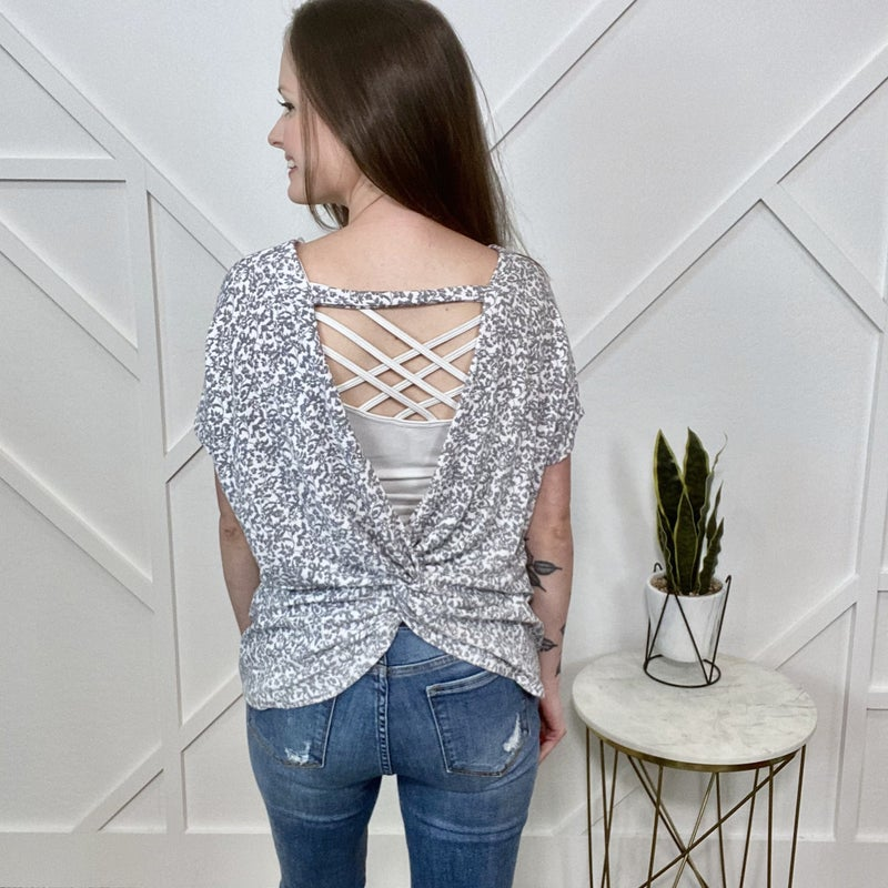 Grey Floral Open Back Top