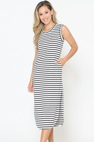 Striped Side Slit Pocket Dress