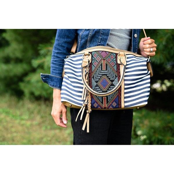 Blue Stripe Aztec Handbag