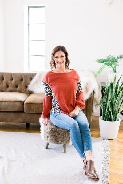 Waffle Knit w/Leopard Sweater
