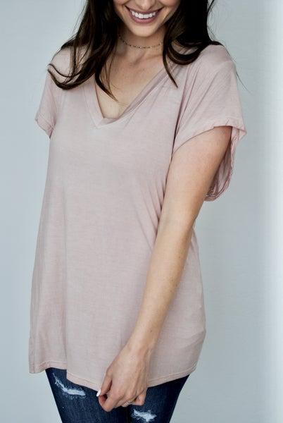 Pink Short Sleeve V-neck