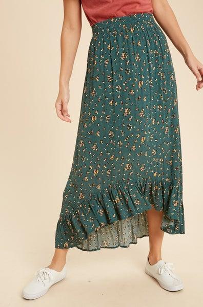 Teal Floral Midi Skirt