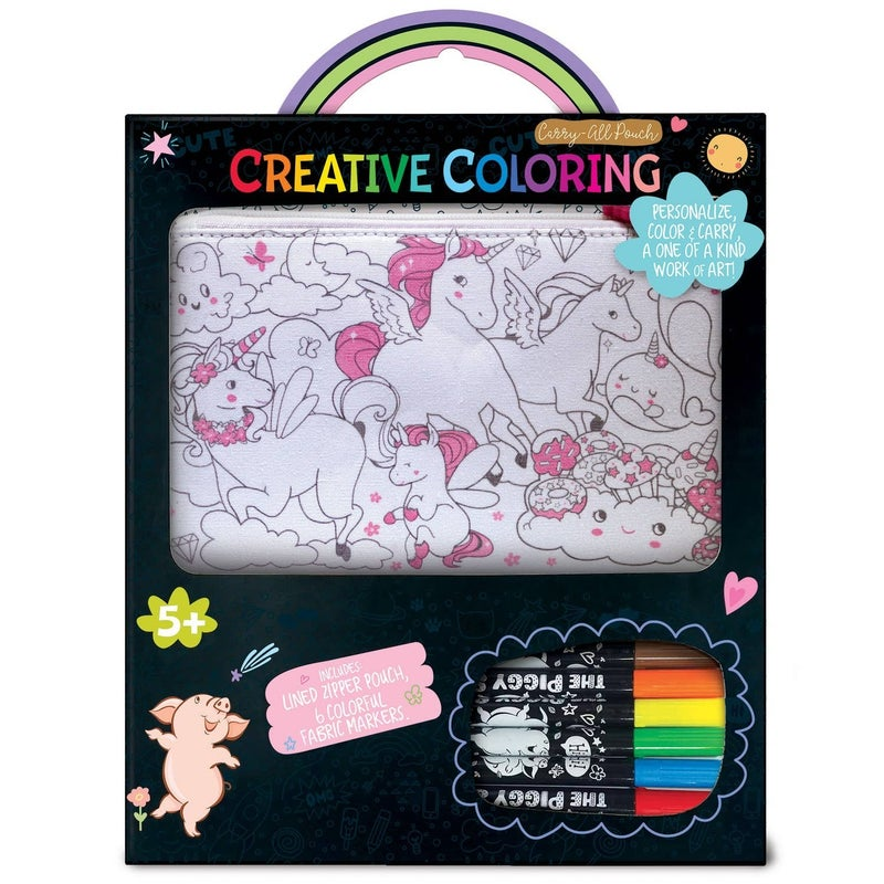 Creative Coloring: Carry All Pouch- Unicorn Fantasy