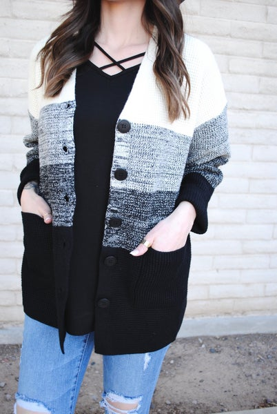 Grey + Black Color Block Knit Cardigan