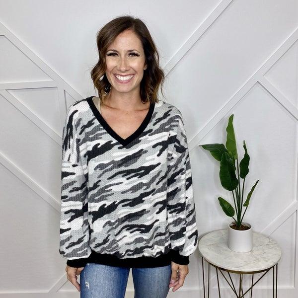 Camo Print V-Neck Sweater